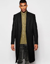 Asos Single Breasted Overcoat In Grey