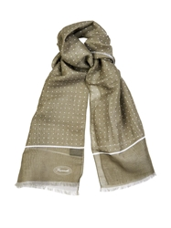 Faconnable Micro Dot Print Linen Blend Scarf