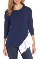 Pleione Women's Wraparound Ruffle Hem Sweater Navy White With White Poplin