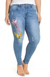City Chic Plus Size Summer Paradise Embroidered Stretch Skinny Jeans Light Denim
