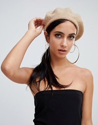Missguided Wool Mix Beret In Beige
