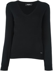Dsquared2 Ribbed V Neck Jumper Black