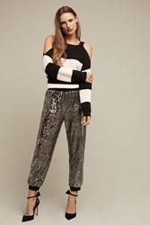 Anthropologie Oro Sequined Joggers Gold