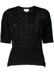 Thom Browne Crystal Embroidery Floral Cable Tee Black