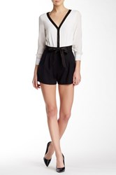 Alice Olivia Two Tone Leather Trim Romper Black