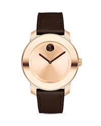 Movado Bold Museum Dial Watch With Leather Strap 36Mm Pink
