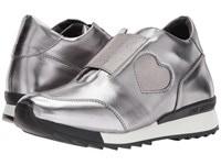Love Moschino Platform Sneaker With Heart Detail Steel Silver Women's Shoes