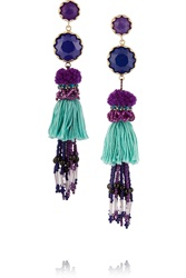 Etro Tasseled Gold Plated Amethyst And Lapis Earrings