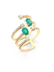 Hueb Rainbow Diamond Emerald And 18K Yellow Gold Ring Gold Emerald