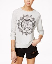Hybrid Juniors' Long Sleeve Graphic Top Heather Oatmeal