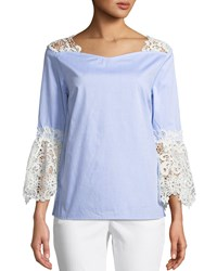 Neiman Marcus Lace Trim Cotton Blouse With Bell Sleeves Blue