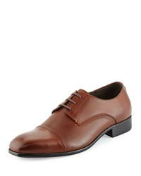 Kenneth Cole Wall 2 Wall Cap Toe Leather Oxford Cognac Red