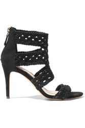 Sandro Agate Woven Suede Sandals Black