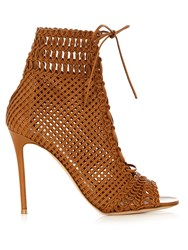 Gianvito Rossi Marnie Woven Leather Ankle Boots Tan