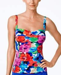 Swim Solutions Sedona Floral Print Tankini Top Women's Swimsuit Multi