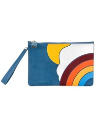 Anya Hindmarch Rainbow Motif Clutch Blue