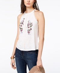 American Rag Juniors' Floral Embroidered Top Created For Macy's Egret