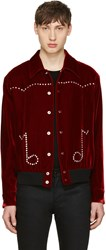 Saint Laurent Red Velvet Western Teddy Jacket