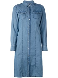 Twin Set Chambray Shirt Dress Women Cotton 44 Blue