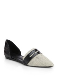 Jenni Kayne Penny Linen And Croc Embossed Leather D'orsay Flats Natural