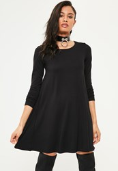 Missguided Black Long Sleeve Crew Neck Jersey Swing Dress