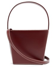 Staud Edie Leather Bucket Bag Burgundy