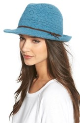 Women's Collection Xiix Lace Knit Packable Fedora Blue Provence Blue
