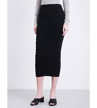 James Perse Ruched Cotton Jersey Skirt Black