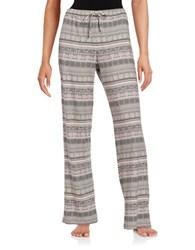 Lord And Taylor Jersey Knit Printed Pajama Pants Grey