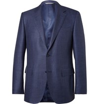 Canali Blue Slim Fit Checked Wool Silk And Linen Blend Blazer Navy