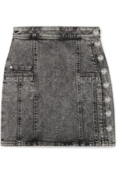 Balmain Button Embellished Acid Wash Denim Mini Skirt Gray