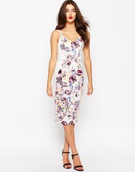 Asos Hitchcock Midi Pencil Dress In Placed Peony Floral Multi