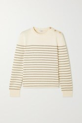 Saint Laurent Button Detailed Metallic Striped Knitted Sweater Ivory