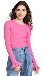 Endless Rose Flare Cuff Knit Top Pink