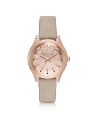 Karl Lagerfeld Belleville Rose Gold Tone Pvd Stainless Steel Women's Quartz Watch W Dove Leather Strap Ecru