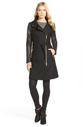 Mackage Leather Sleeve Long Wool Blend Trench Coat Black