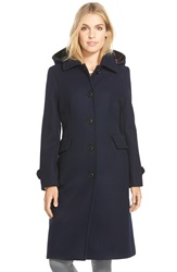 Pendleton Wool Blend Coat With Plaid Lined Hood Navy