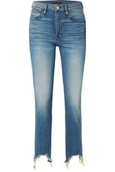 3X1 W3 Straight Authentic Crop Distressed High Rise Straight Leg Jeans Mid Denim