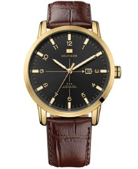 Tommy Hilfiger Watch Men's Brown Croco Embossed Leather Strap 44Mm 1710329