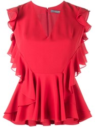 Alexander Mcqueen Ruffle Trimmed Sleeveless Blouse Red