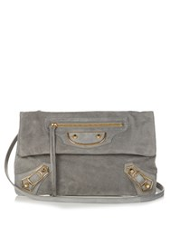 Balenciaga Classic Metallic Edge Suede Envelope Clutch Grey