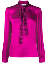 Moschino Embroidered Logo Pussy Bow Blouse Pink