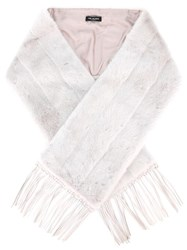 Yves Salomon Stripe Detail Fringed Scarf Nude Neutrals