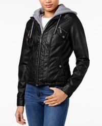 Joujou Jou Jou Faux Fur Lined Faux Leather Jacket Black