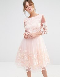 Chi Chi London Premium Midi Prom Dress With Embrodery Nude