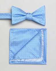 Selected Homme Bow Tie And Pocket Square Comb7 Blue Shadow Multi