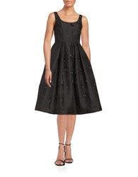 Ivanka Trump Rose Pattern Fit And Flare Dress Black
