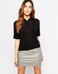 Asos Shirt With Short Sleeves In Jersey Fabric Black