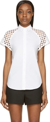 Carven White Eyelet Sleeve Blouse