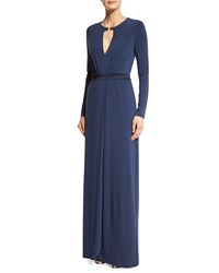 Halston Heritage Long Sleeve Gown W Keyhole Night Sky